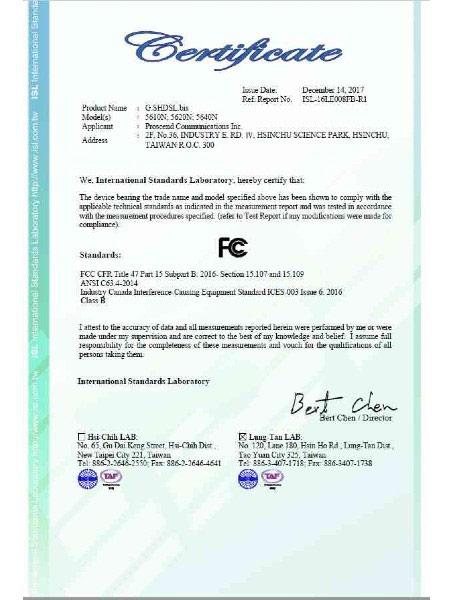 G.Shdsl.bis EFM Modem 5600N Series FCC Certificate