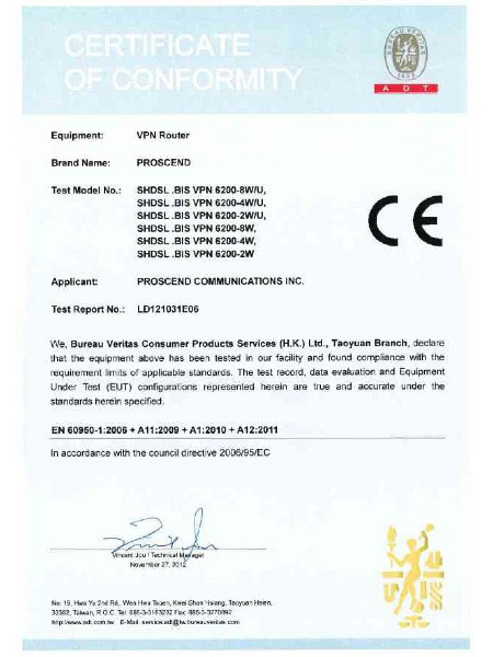 شهادة G.Shdsl.bis EFMATM VPN Router 6200N Series CE EN60950-1
