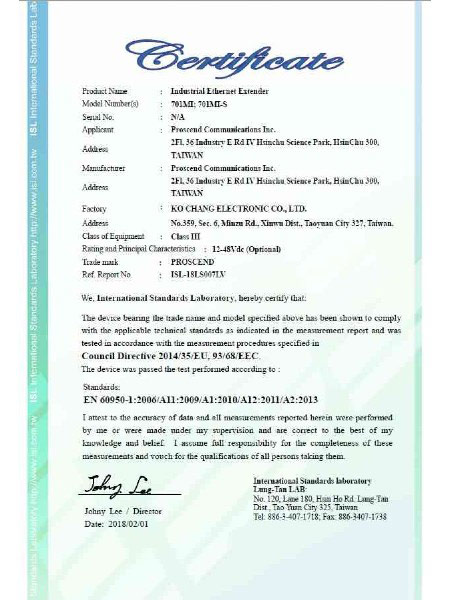 Industrial Ethernet Extender 701MI & 701MI-S EN60950-1 Certificate