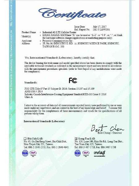 Teollinen VPN IoT -matkareititin M30x FCC -sertifikaatti