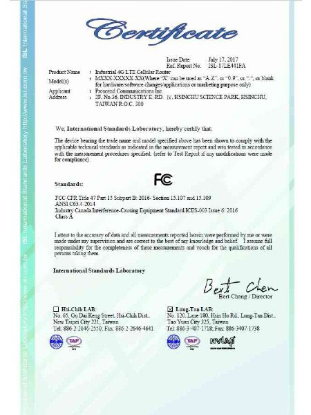 Certificado FCC de VPN industrial IoT Cellular Router M30x