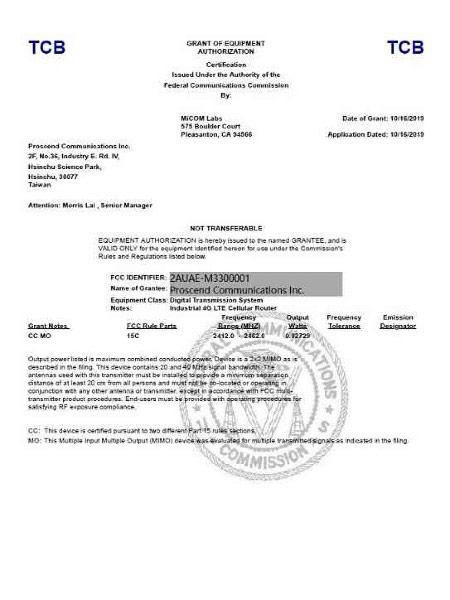 Industrial VPN Wireless Router M330 FCC Certificate