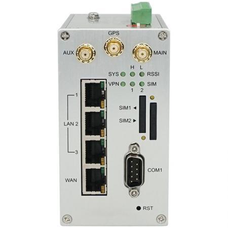 Przemysłowy router komórkowy Dual SIM VPN z 3 portami ETH M301-G Widok z przodu