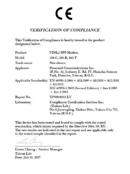 Industrial SFP Modem 180-C & 180-R & 1180-T EN-60950-1 Certificate
