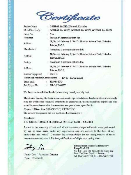 G.Shdsl.bis EFM Modem 5600N Series EN60950-1 شهادة