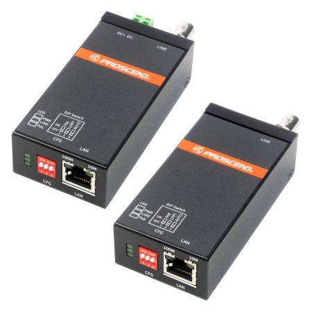 Extensor de Ethernet por cable coaxial industrial con LFPT