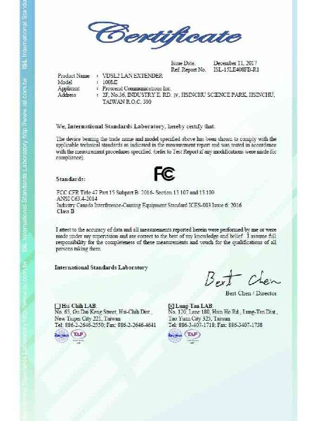 Lite Industrial Ethernet Extender 100MI FCC Certificate