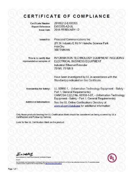 Industrial Ethernet Extender 701MI & 701MI-S UL Certificate