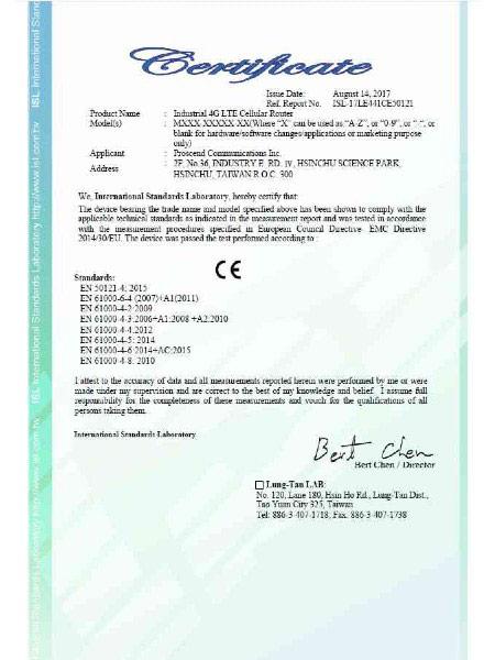Industrial VPN IoT Cellular Router M30x EN50121-4 Certificate