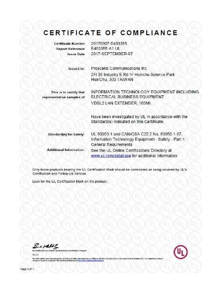 Lite Industrial Ethernet Extender 100MI UL60950 Certificate