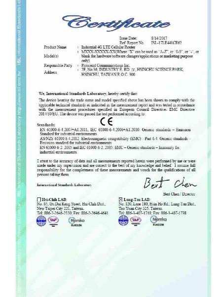 Industrial VPN IoT Cellular Router M30x EN61000-6-4 & 61000-6-2 Sertipiko