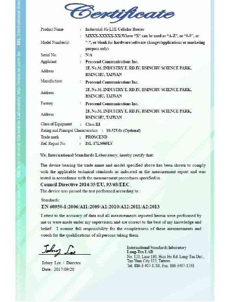 Industrial VPN IoT Cellular Router M30x EN60950-1 Certificate