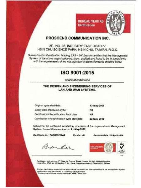 Proscend ISO9001 -sertifikaatti - Proscend on saanut ISO9001-sertifikaatin parhaan laadunvalvonnan varmistamiseksi.