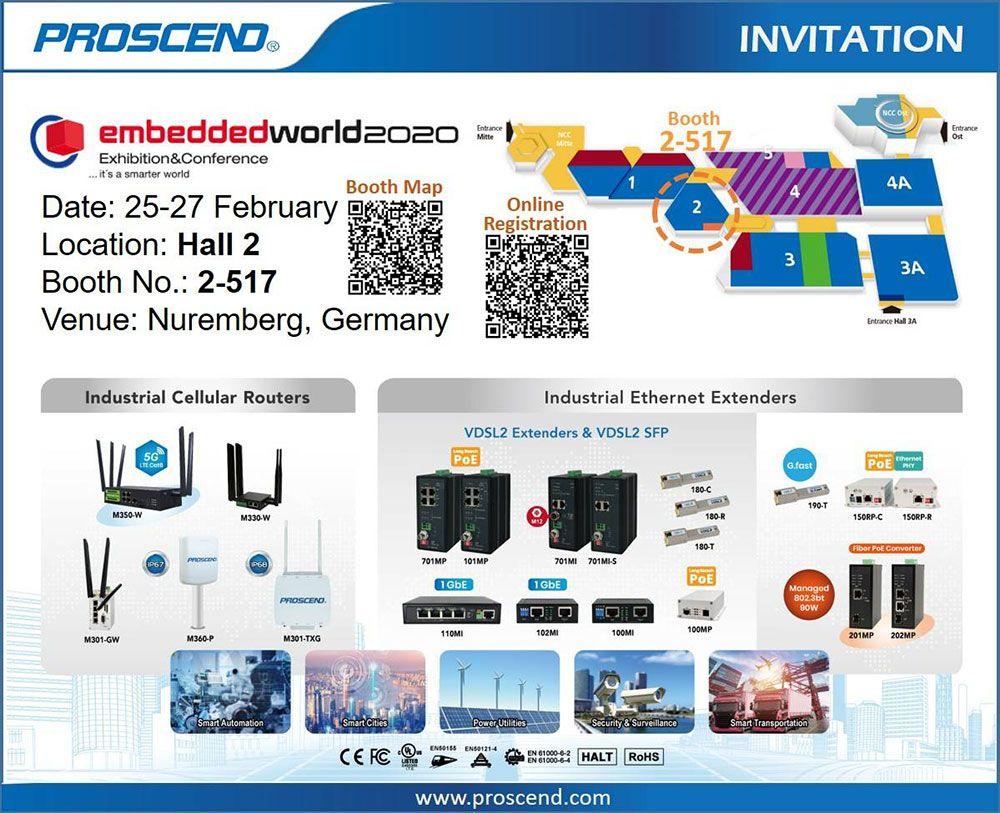 Proscend convida você a visitar nosso estande 2-517 no Embedded World 2020.