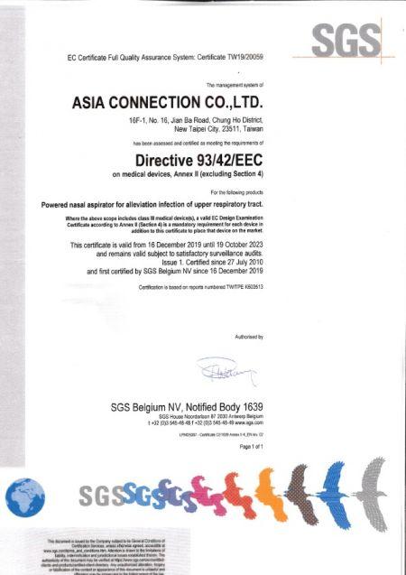 Certificato CE Asia Connection