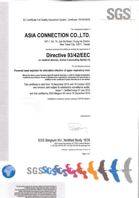 Asia Connection CE Certificate