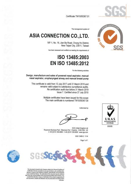 Certyfikat Asia Connection ISO 13485