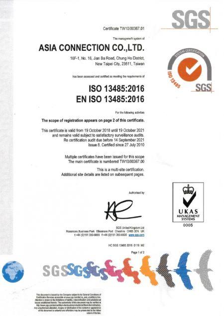 Certificato ISO 13485 di Asia Connection