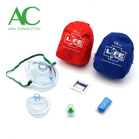 Adult & Infant CPR Pocket Masks Various Soft Case Color Options and Accessories