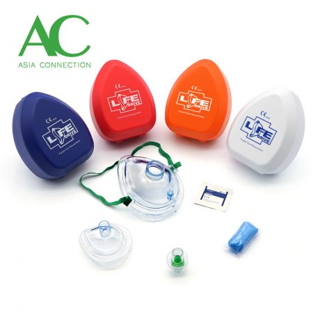 Adult & Infant CPR Pocket Masks Various Hard Case Color Options and Accessories