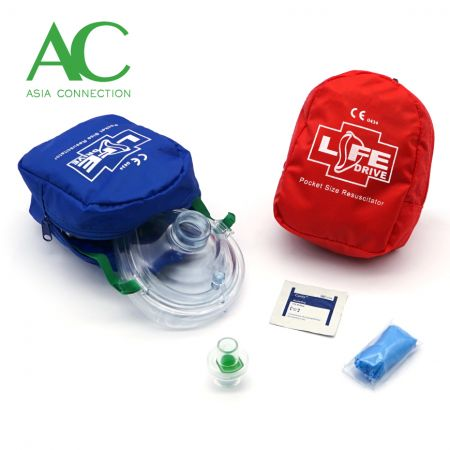 Adult CPR Pocket Mask Various Soft Case Color Options