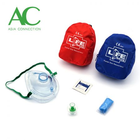 Adult CPR Pocket Mask Various Soft Case Color Options and Accessories