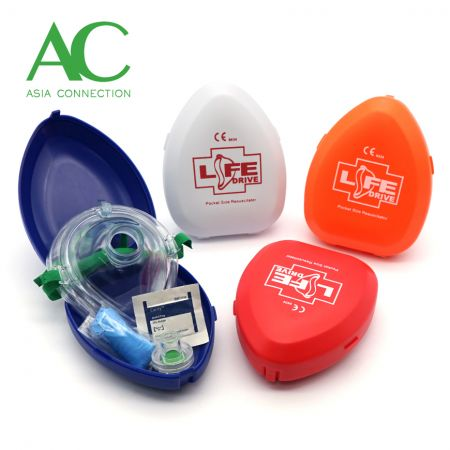 Adult CPR Pocket Mask Various Hard Case Color Options