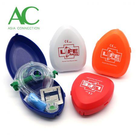 Adult CPR Pocket Mask Various Hard Case Color Options
