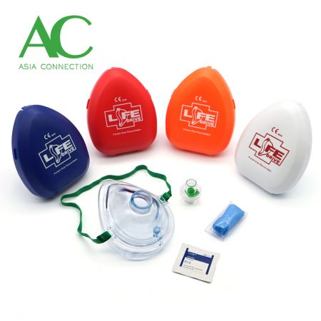 Adult CPR Pocket Mask Various Hard Case Color Options and Accessories
