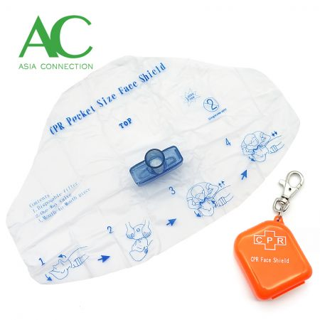 CPR Face Shield with Square Keychain Case - CPR Face Shield