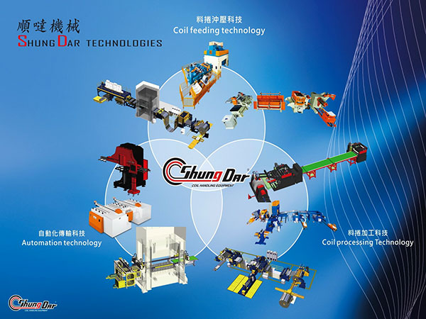 SD's Main Products : Coil Processing, Automation Related Press Stamping Line.