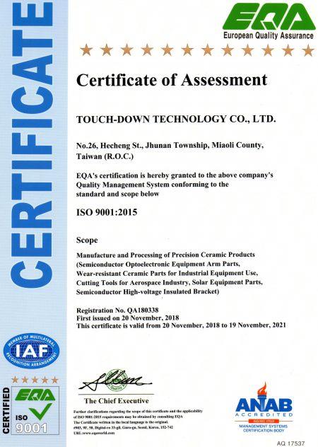Certificado de evaluación ISO900