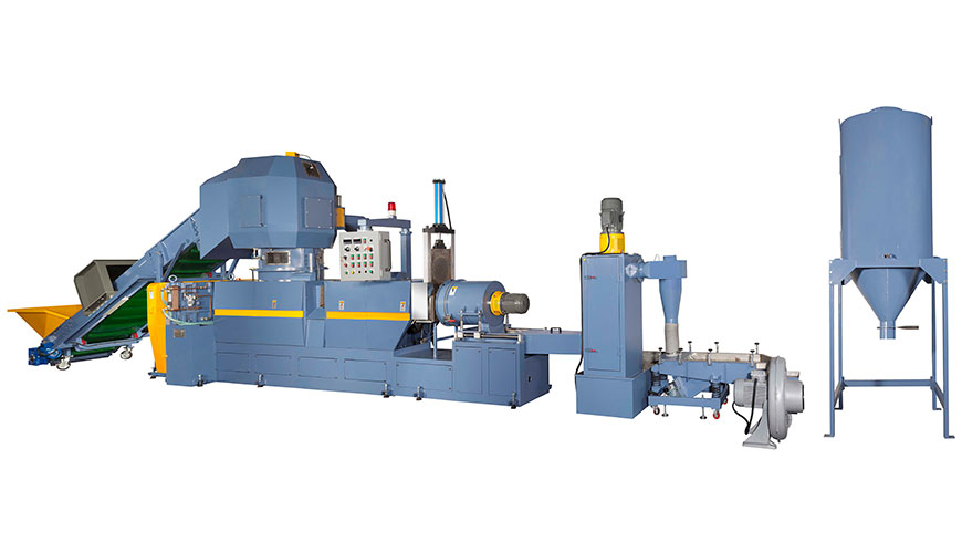 Plastic Waste Recycling Machine (3-in-One Type) combines shredder, extruder and pelletizer.