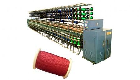 घुमा मशीन (पहली घुमा) - ट्विस्टिंग मशीन (TK-121, 88 स्पिंडल, यार्न आपूर्ति: बॉबिन S177)