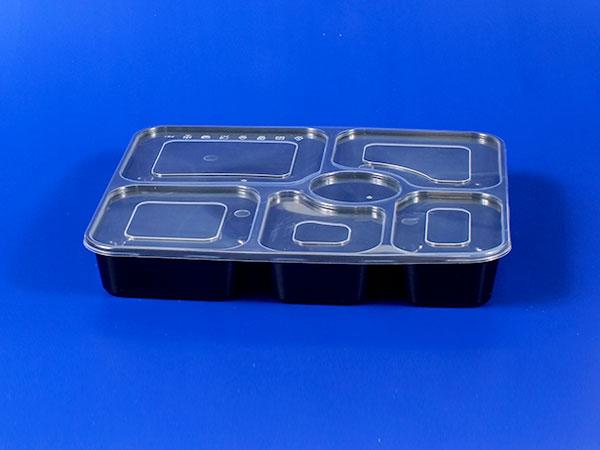 กล่องอาหารกลางวันพลาสติกปิดผนึกหกช่อง - สีดำ