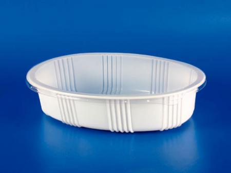 전자 레인지 냉동 식품 플라스틱 - PP 타원형 밀봉 상자 - 전자 레인지 / 냉동 식품 플라스틱 - PP 타원형 밀봉 상자
