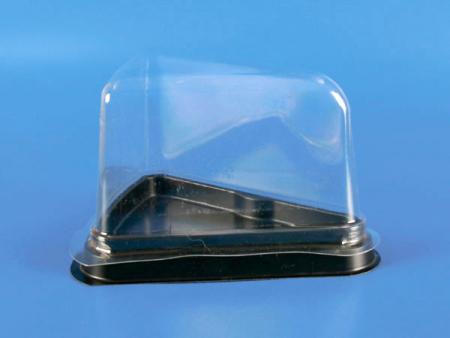 प्लास्टिक कटा हुआ केक बॉक्स - उच्च आवरण - प्लास्टिक कटा हुआ केक बॉक्स - उच्च कवर (पीएस + पीईटी)