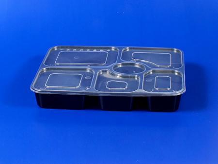 छह ग्रिड सील प्लास्टिक - पीपी लंच बॉक्स - काला - छह ग्रिड सील प्लास्टिक लंच बॉक्स - काला