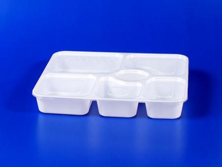 छह ग्रिड सील प्लास्टिक - पीपी लंच बॉक्स - सफेद - छह ग्रिड सील प्लास्टिक लंच बॉक्स - सफेद