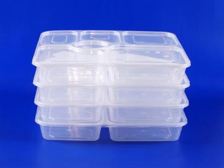 Sáu hộp cơm nhựa kín được xếp gọn gàng.