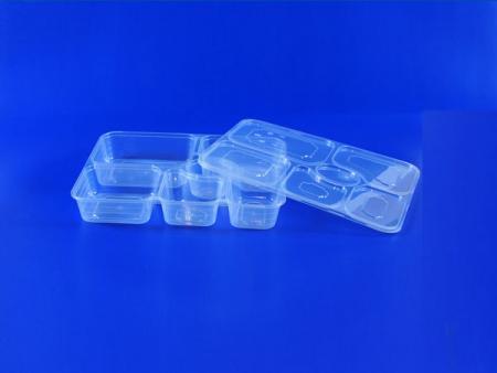 ฝาปิดกล่องอาหารกลางวัน pp ที่ปิดสนิทแบบหกตารางด้วยความโปร่งใสที่ดี