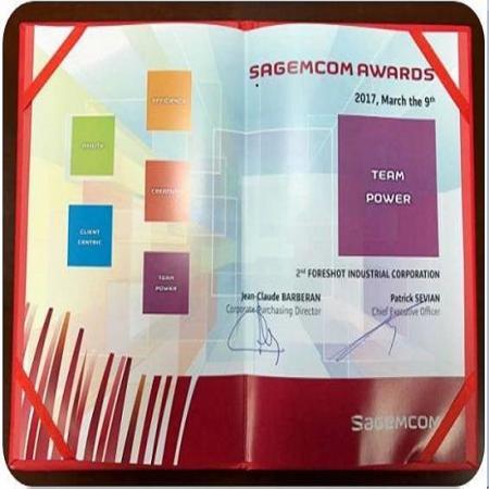 Recebeu um Prêmio de Excelente Fornecedor (Força da Equipe) da Sagemcom.