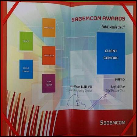 Received an Excellent Vendor Award(Client Centric) from Sagemcom.