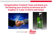 FORESHOT a reçu un Excellent Vendor Award de Leica en 2018