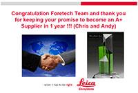 FORESHOT은 2018년 Leica로부터 우수 공급업체 상을 받았습니다.