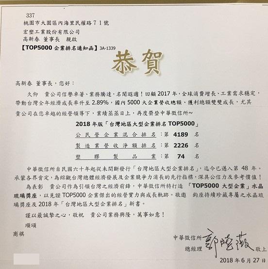 宏塑集團2018年榮獲中華徵信所Top5000獎項