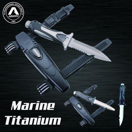 Canivete de mergulho marinho titânio Tiger - Canivete de mergulho marinho titânio Tiger