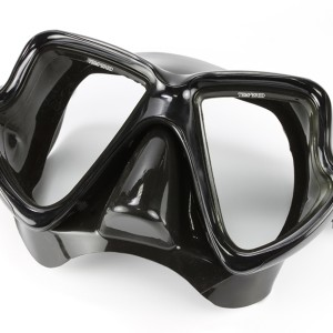 MK-400(BK) Scuba Black Mask Twin Tempered Glass Lens