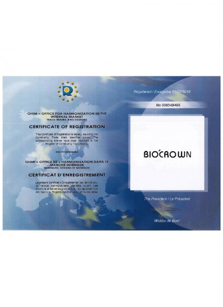 BIOCROWN ha acquisito il certificato di registrazione dall'UAMI-Office for Harmonization in Internal Market Trade Markds and Design