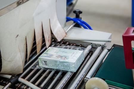 Proses prosedur pengeluaran topeng lembaran bio selulosa - L 型 收縮 機 POF 封 模 收縮